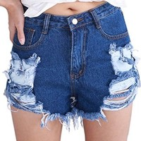 MapleClan Vintage-Inspired Boyfriend Broken Holes High Waist Denim Shorts