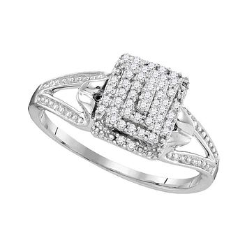 10kt White Gold Women's Round Diamond Cluster Split-shank Ring 1/6 Cttw - FREE Shipping (US/CAN)