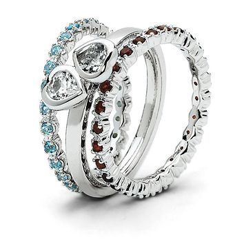 Sterling Silver Stackable Genuine Gemstone Trio Heart Ring Set