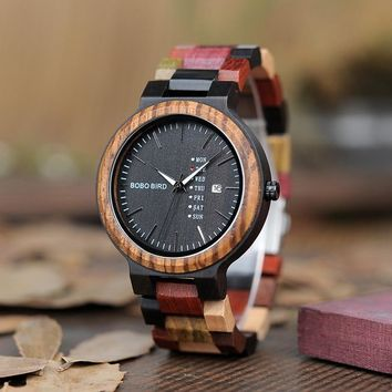 BOBO BIRD C-P14-1 Colorful Wooden Watch for Men Women Fashion Colorful Wood Strap Week Display Date Quartz Watches Luxury Unisex