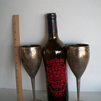 Vintage Wine Goblets Set Of 2 Silverplated With Aging And Patina 8 Inches Tall X 2 & 3/4 Inches Wide