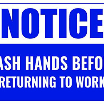 Notice Wash Hands Before Returning To Work Business Informational Policy Sign