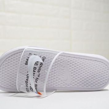 "Virgil Abloh Off white x Nike Benassi Slide JDI Print Sandals ""OW White""312618-911"