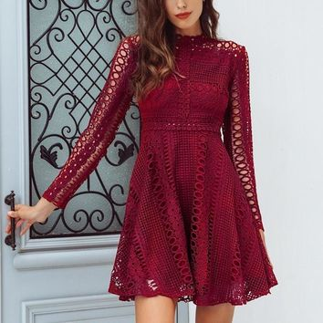 Sexy Lace Red Elegant Knitted Long Sleeve Dress