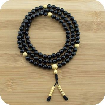 Faceted Black Onyx Buddhist Prayer Beads Necklace with Gold Plated Brass