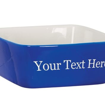 Customized 3D Laser Engraved Personalized Custom Ceramic Dog Pet Cat Animal Bowl (Blue)
