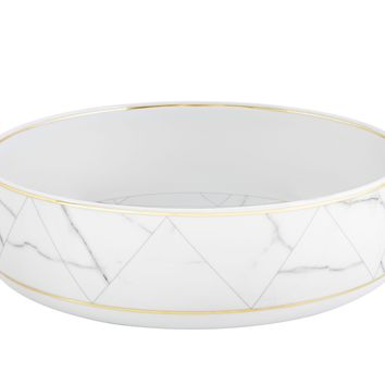 Carrara Marble Chevron Salad Bowl