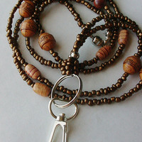 Cocoa Brown Beaded Lanyard ID lanyard Badge holder lanyard ID holder for work Breakaway style