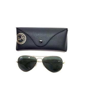 Gotopfashion RAY-BAN Goldtone Metal Frame Dark Green-Tinted Lenses Large Aviator Sunglasses