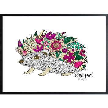 Whimsical Hedgehog Art Print, Dorm Decor, Nursery Decor, Office Decor, Hand Illustrated
