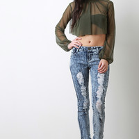 Frontrunner Acid Wash Distressed Denim Skinny Jeans