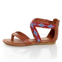 Bamboo Ashley 63 Chestnut Beaded Gladiator Sandals - $36.00