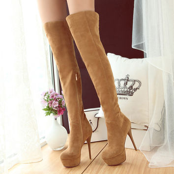 Sexy Black Suede Over The Knee Boots Women 2016 Brand Ultra High Heels Boots Platform Thin Heels Long Boots Ruslana Korshunova