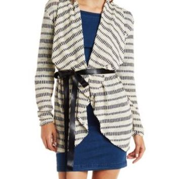 Faux Leather-Belted Striped Cascade Cardigan