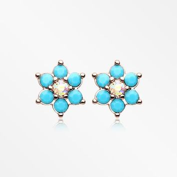 A Pair of Rose Gold Turquoise Spring Flower Sparkle Ear Stud Earrings