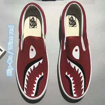 VANS x Bape joint model low to help men's shoes tide shoes a pedal lazy canvas shoes F/A Slip-On / Wine red