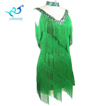 Free Ladies 1920s Flapper Dress Great Gatsby Party Charleston Fringe Latin Salsa Dance Performance Costume Dress