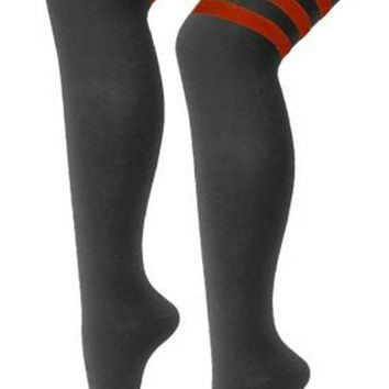 GIRLS WOMENS REFEREE STRIPE KNEE HIGH SOCKS OTK SPORT FANCY DRESS LONG WHITE