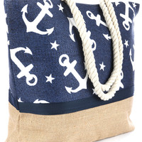 Anchor Print Beach Tote Accessory Bag