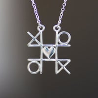 XOXO Tic Tac Toe Necklace, Sterling Silver Heart Pendant, Valentine's Day Gift, Mother's Day Gift, Gaming Jewelry, Game 2