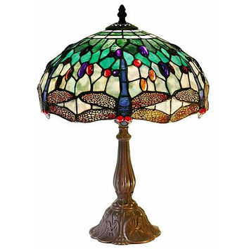Warehouse of Tiffany: Tiffany Style White DragonflyTable Lamp