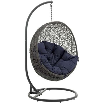 Hide Outdoor Patio Swing Chair With Stand Gray Navy EEI-2273-GRY-NAV