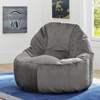 Charcoal Wide Wale Cord Leanback Lounger