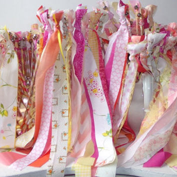 100 Wedding Wands, 2 Fabric Streamers with Bell, Custom Made Party Favors