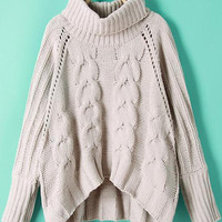 Grey High Neck Cable Knit Crop Sweater -SheIn(Sheinside)
