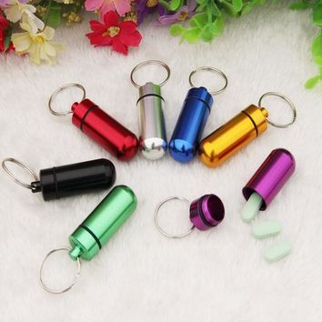 200 Pcs/lot Waterproof Drug Case Container Aluminum Pill Box Holder Keychain Medicine Bottle Outdoor Emergency First Aid EDC