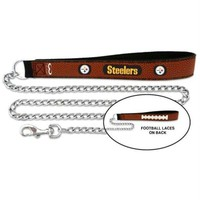 DCCKGW6 Pittsburgh Steelers Football Leather and Chain Leash