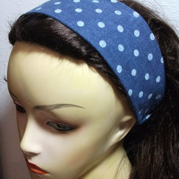 Reversible Blue Jean with White Polka Dots Headband Wide Fabric Wrap Around