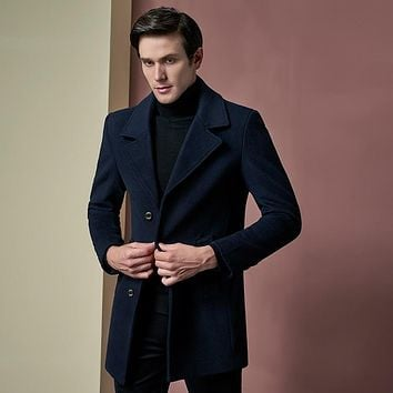 Custom made 2017 Fashion Man NavyCoats Wool Blends Single Breasted Slim Fit Pea Coat Men Long Trench Winter Overcoat