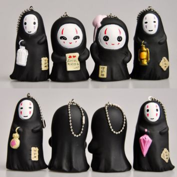 1 Pcs New cute PVC Cartoon Spirited Away Faceless Men Key Rings Study Key Chains Girl Friend Gift 8cm KeyChain toy