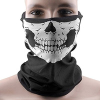1x Black Windproof Black Tribal Skull Soft Polyester Half Face Mask Snowboard Snowmobile Snow Ski Facemask Headwear Neck Gaiter Dust Shield Bandana Balaclava One Size