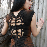 Steampunk Deconstructed Lolita Gothic Post Apocalyptic Zombie Industrial Metal Horror Shredded Top