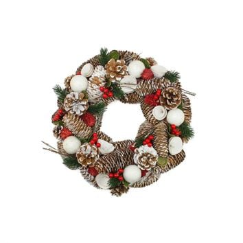 "20"" Frosted Pine Cone Twigs and Berries Artificial Christmas Wreath - Unlit"