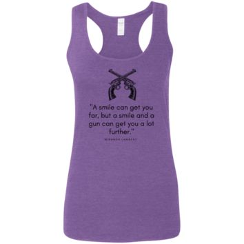 A smile can get you far... Ladies' Softstyle Racerback Tank