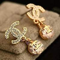 Chanel Popular Women Zircon Earring+Best Gift