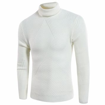 New high-necked sweater solid color collar men casual fashion red sweater irregular pattern fashion long-sleeved sweater