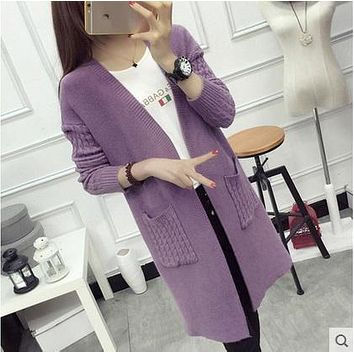 New 2017 Women Wool Sweater Cardigan Female Cashmere Knitted Plus Size Coat Fashion Long Sleeve Loose Sweater With Pockets