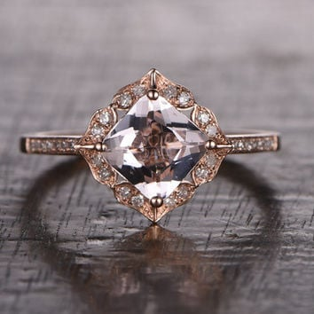 Princess Cut 7mm Morganite Engagement ring Rose gold,Diamond wedding band,14k,Gemstone Promise Ring,Art Deco Antique,Retro vintage Floral