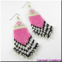 The Sweet Heart Beadwork Long Dangle Fringe Seed Bead Earrings in Pink, Black and White