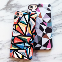 Fashion Art Colorful Triangle Case For iphone 7 Case Funny Abstract Geometric Graphic Back Cover Phone Cases For iphone7 7 Plus -Girllove100