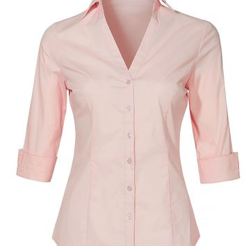 LE3NO Womens Roll Up 3/4 Sleeve Button Down V Neck Shirt with Stretch
