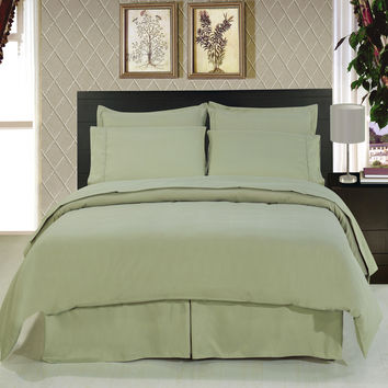 Solid Sage 8-Piece Bedding Set Super Soft Microfiber Sheets+Duvet+Alternative