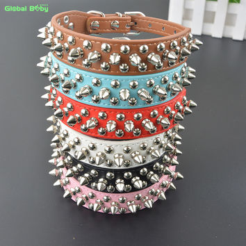 Studded Round Spikes and Small MushRoom Dog Pet Small Collar Necklace Muti Color