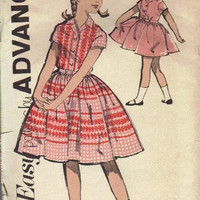 Advance 60s Sewing Pattern Tea Party Dress Full Circle Twirl Skirt School Dress Short Sleeves Notched Collar Belted Bust 25