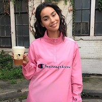 Supreme x Champion x Half Zip Pullover Women/Men Fashion Hooded Zipper Cardigan Sweatshirt Jacket Coat Windbreaker Sportswear