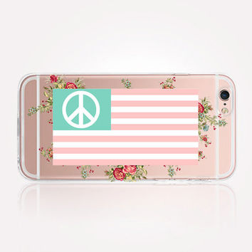 Transparent Floral American Flag Phone Case - Transparent Case - Clear Case - Transparent iPhone 6 - Gel Case - Soft TPU Case - Samsung S7